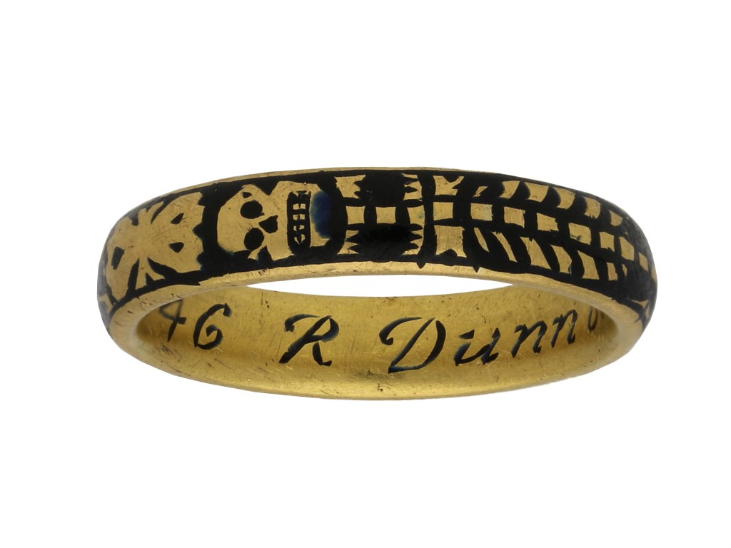 Georgian gold enamel skeleton ring berganza hatton garden