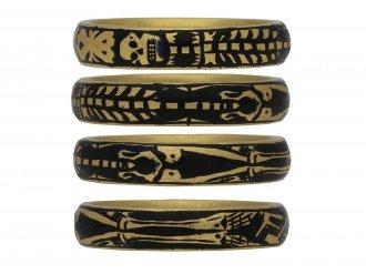 Georgian gold enamel skeleton ring berganza hatton garden