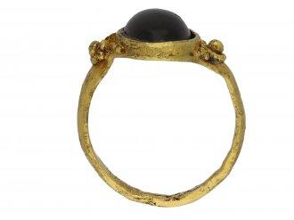 Medieval garnet cabochon ring berganza hatton garden