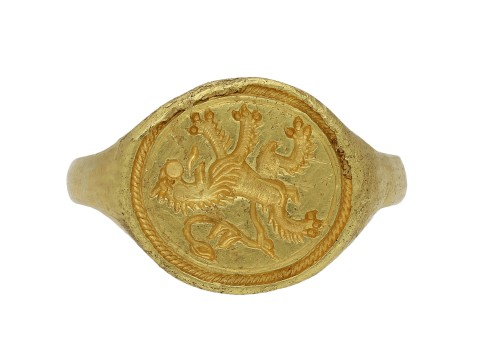 Elizabethan gold signet ring Scottishlion berganza hatton garden