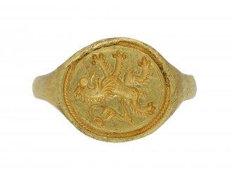 Elizabethan gold signet ring Scottishlion berganza hatton garden