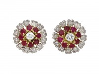 Burmese ruby and diamond cluster earrings berganza hatton garden