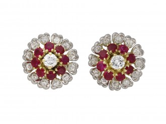 Burmese ruby and diamond cluster earrings berganza hatton garden
