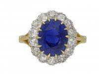 Ceylon sapphire and diamond cluster ring berganza hatton garden