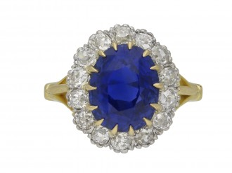 Ceylon sapphire and diamond cluster ring berganza hatton garden