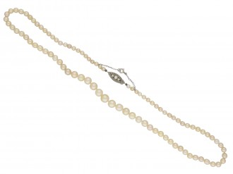 Edwardian natural pearl diamond necklace berganza hatton garden