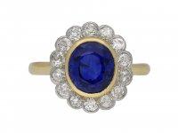 Burmese sapphire and diamond cluster ring berganza hatton garden