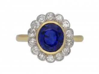 Burmese sapphire and diamond cluster ring berganza hatton garden