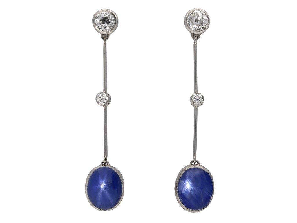 Edwardian star sapphire diamond earrings berganza hatton garden