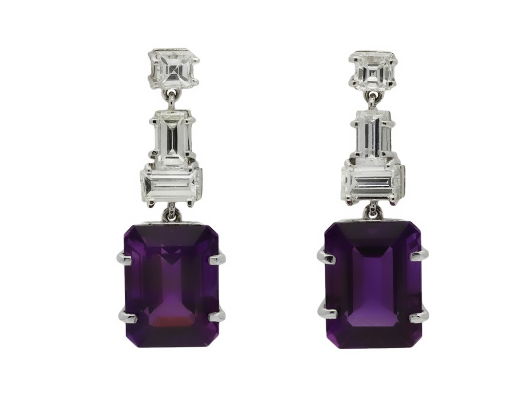 Vintage amethyst and diamond drop earring hatton garden berganza
