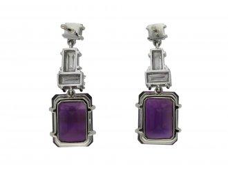 Vintage amethyst and diamond drop earring hatton garden berganza