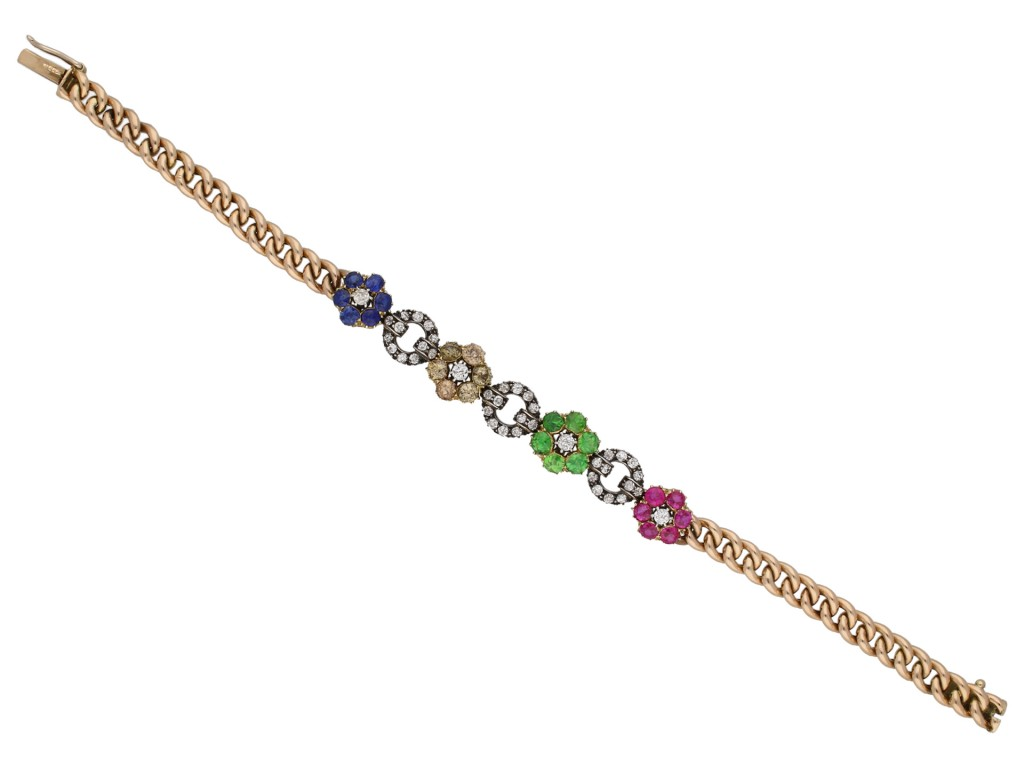 Victorian diamond and gemstone bracelet berganza hatton garden
