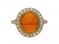 Fire opal and diamond coronet cluster ring berganza hatton garden
