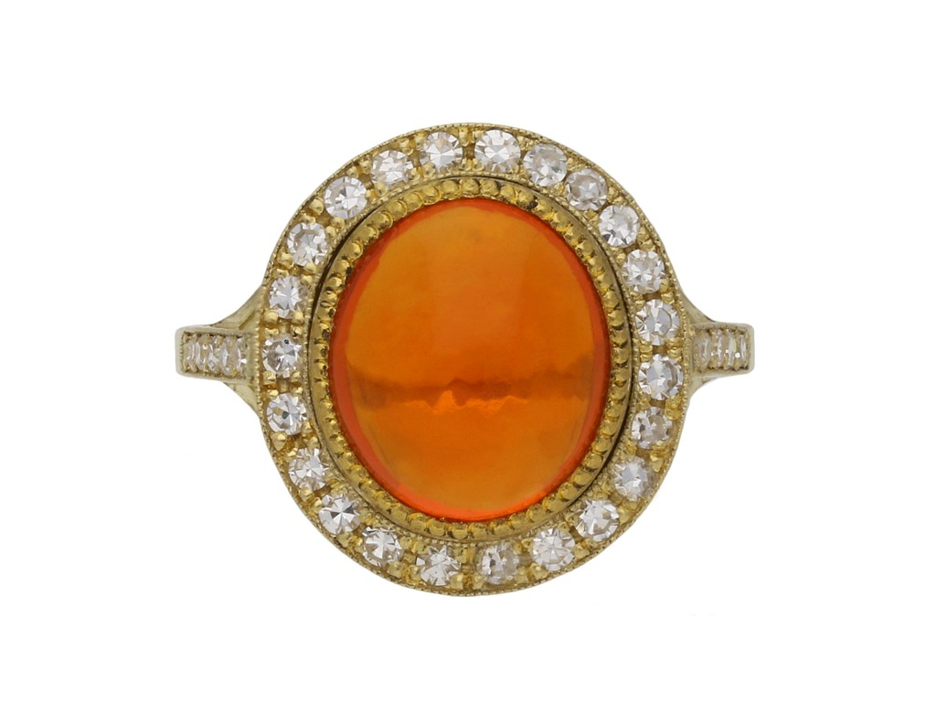 Fire opal and diamond coronet cluster ring berganza hatton garden