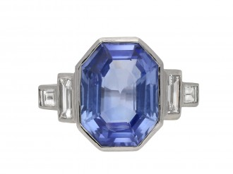Art Deco Ceylon sapphire diamond ring berganza hatton garden