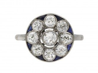 Belle Époque diamond sapphire cluster ring berganza hatton garden