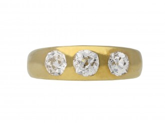 Three stone diamond gypsy ring berganza hatton garden