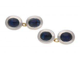 Antique cabochon sapphire cufflinks berganza hatton garden
