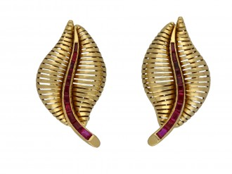 Vintage ruby leaf clip earrings berganza hatton garden