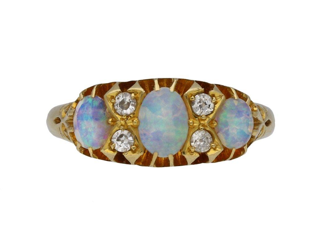 Edwardian opal diamond three stone ring berganza hatton garden
