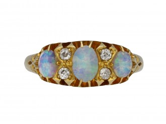 Edwardian opal diamond three stone ring berganza hatton garden