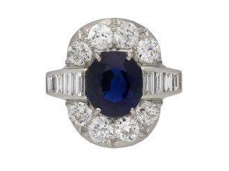 Royal Blue Burmese sapphire diamond ring,berganza hatton garden