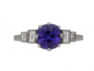 Art Deco Ceylon purple sapphire ring berganza hatton garden