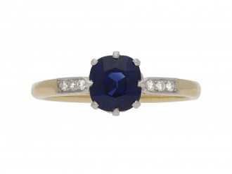 Edwardian sapphire solitaire ring 1910 Berganza Hatton garden