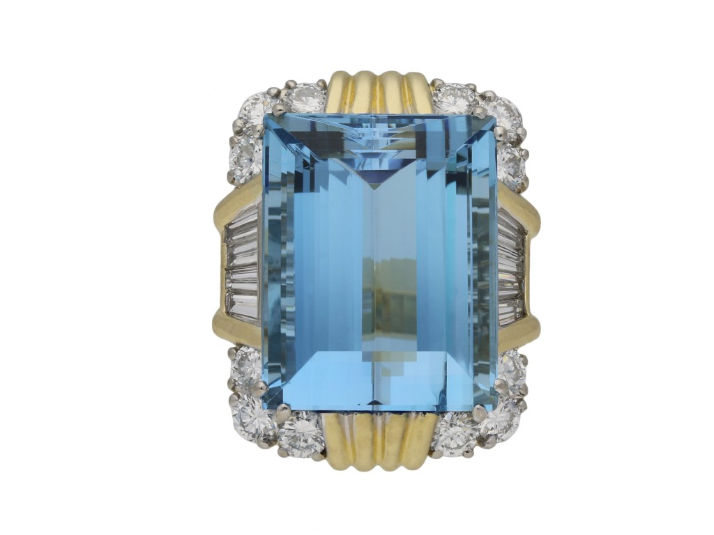 Vintage aquamarine diamond cocktail ring berganza hatton garden
