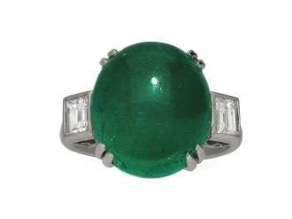 Colombian cabochon emerald diamond ring berganza hatton garden