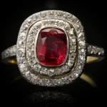 Edwardian ruby and diamond cluster ring, circa 1910.