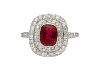 Edwardian ruby and diamond cluster ring berganza hatton garden