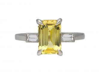 Art Deco yellow sapphire diamond ring berganza hatton garden
