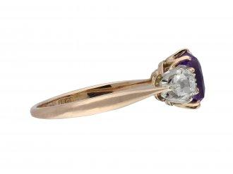 Edwardian purple Ceylon sapphire and diamond three stone ring