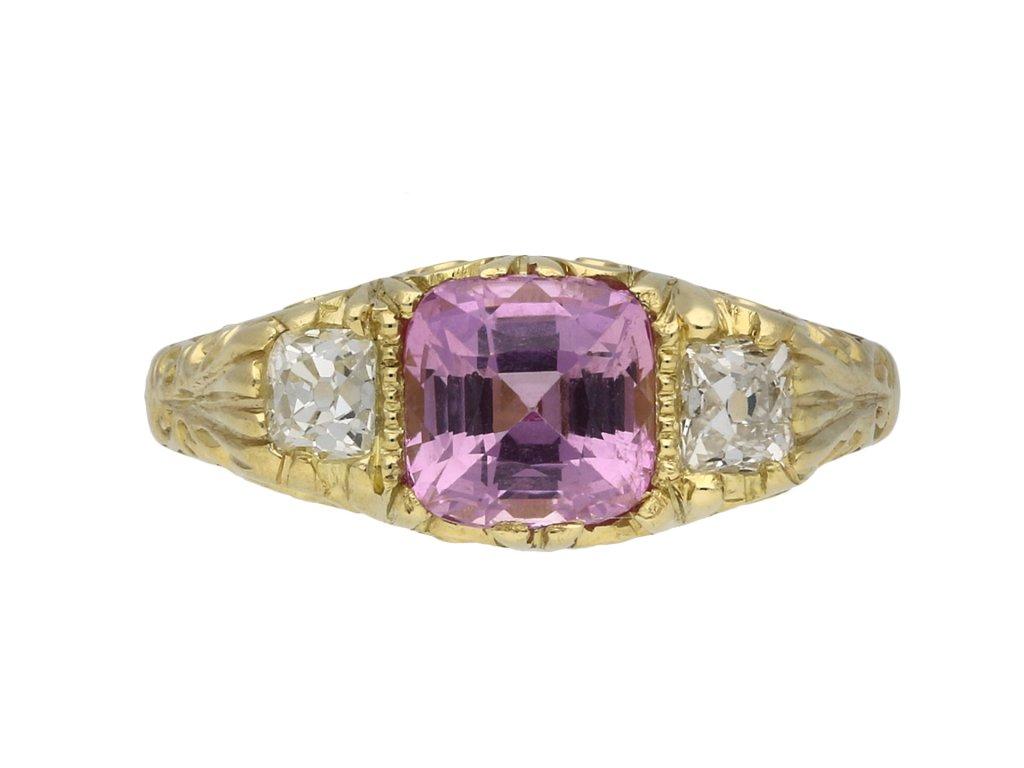 Victorian Ceylon pink sapphire diamond ring berganza hatton garden