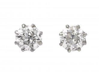Edwardian old cut diamond stud earrings berganza hatton garden