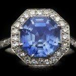 Ceylon sapphire and diamond coronet cluster ring, circa 1950.