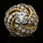 Boucheron diamond cocktail ring, French, circa 1950.