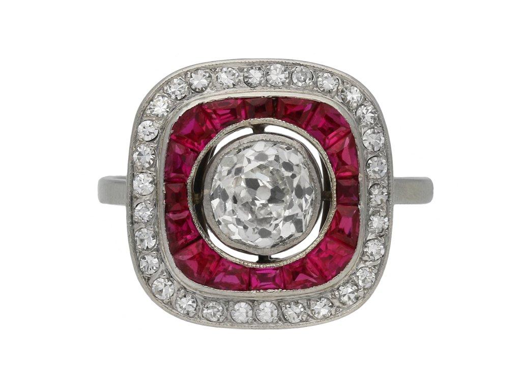 Art Deco ruby and diamond target ring berganza hatton garden