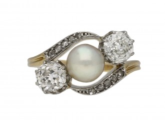 Belle Époque pearl diamond three stone ring berganza hatton garden
