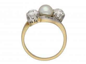 Belle Époque pearl diamond three stone ring berganza hatton garden