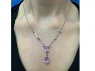 Antique kunzite and diamond pendant berganza hatton garden