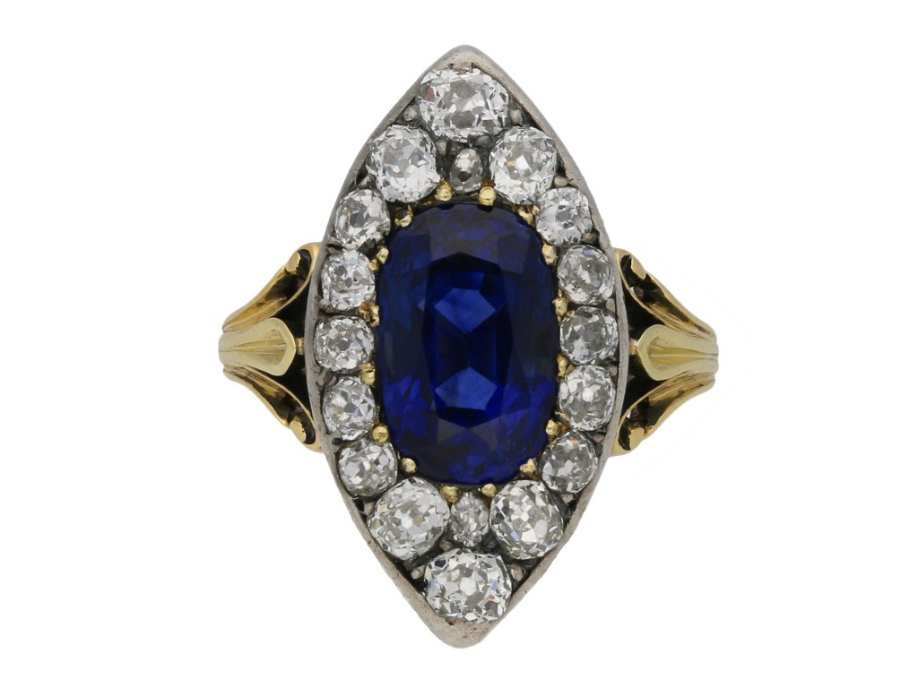 Victorian Ceylon sapphire and diamond ring berganza hatton garden