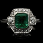 Art Deco Colombian emerald and diamond cluster ring, circa 1925.