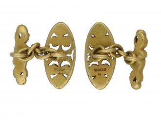 Gothic revival gold cufflinks by Wièse berganza hatton garden