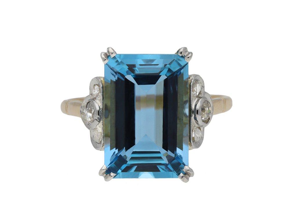 Edwardian aquamarine and diamond ring hatton garden