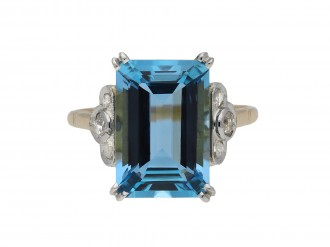 Edwardian aquamarine and diamond ring hatton garden