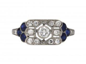 Diamond synthetic sapphire cluster ring berganza hatton garden