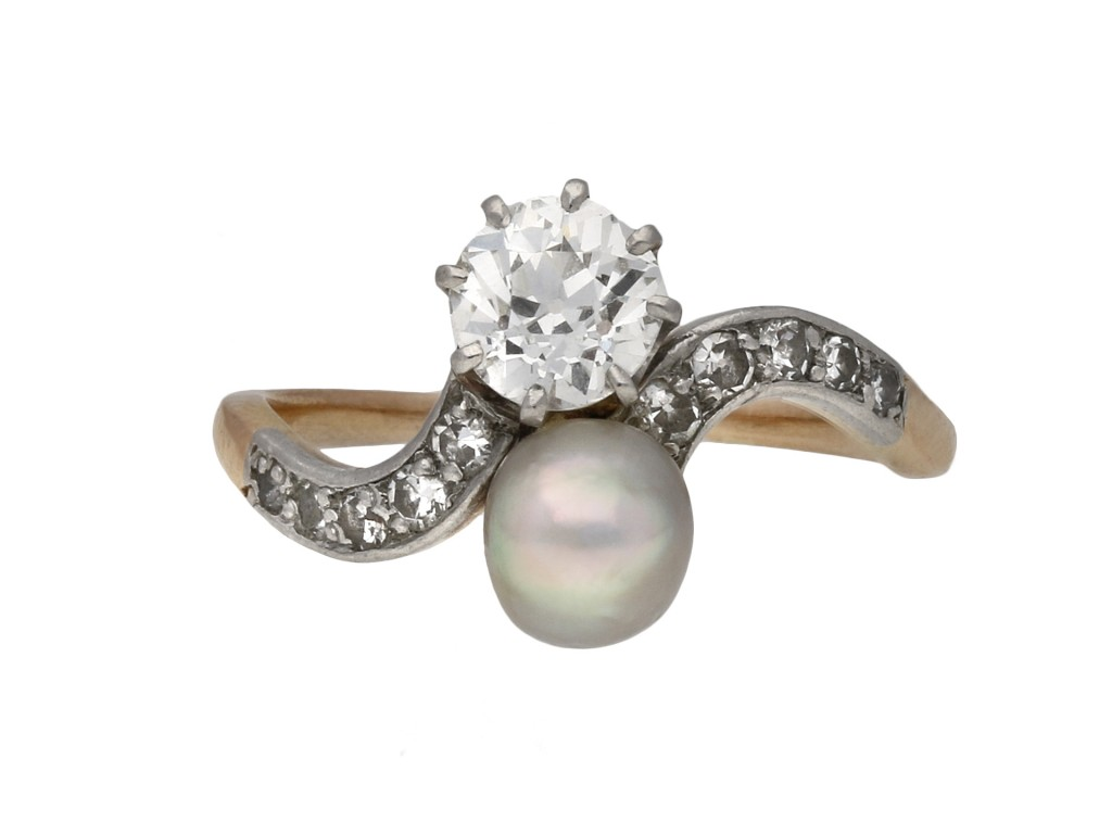 Edwardian diamond and pearl crossover ring berganza hatton garden