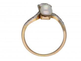 Edwardian diamond and pearl crossover ring berganza hatton garden